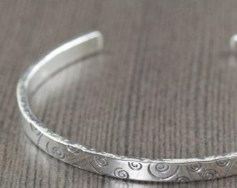 Sterling silver cuff bracelet bangle bracelet swirl bracelet unisex bracelet mens bracelet