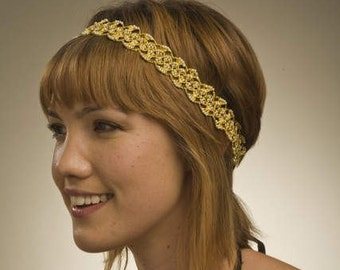 Golden Lace and  Pearl Headband by bethany lorelle on ETSY
