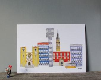 Lisbon Print // A4 Illustration // Portuguese Architecture Cityscape Art