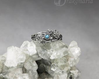 Twig ring - labradorite, sculpted flowers and twigs, limited collection