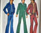 Vintage 70's Simplicity 6593 Sewing Pattern, Men's Unlined Jacket and Jeans, 42 Chest, Uncut FF, Retro Mod 1970's Men's Fashion