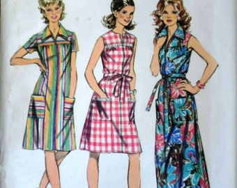 Vintage 70's Simplicity 5028 Sewing Pattern, Misses' Smock-Dress in Two Lengths, Size 16, 38 Bust, Uncut, Retro 1970's Spring Summer Fashion