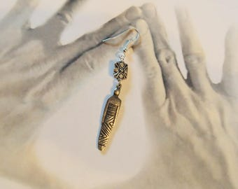 Sandcast handmade Earrings, Tribal dress woman, long two inch, Vintage. Sterling Silver