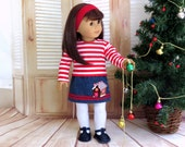 Sugar and Spice - 18 inch Doll Clothes M2M Gymboree Christmas Outfit, Gingerbread Skirt and Red Stripe Top