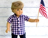 American Boy Doll July 4th Plaid Shirt, 18 inch Doll Clothes Button Up Shirt, Red White Blue