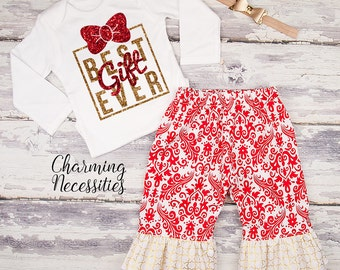 Baby Girl Christmas Outfit, Toddler Girl Clothes, Top and Ruffle Pants Set, Best Gift Ever, red gold glitter by Charming Necessities