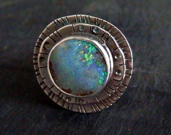 Australian boulder opal ring / opal ring / October birthstone / boulder opal jewelry / boulder opal / rainbow / ready to ship / size 8.5