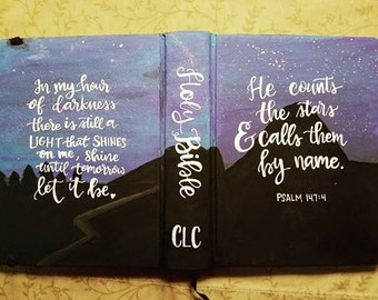 Custom painted bible cover hand lettering, hand painted, esv journaling bible