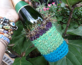 Champagne cooler, wine cooler, wine cozy, bottle cozy, champagne cheers, crochet cozy, champagne toast, boho wedding, hippie wedding, bubbly