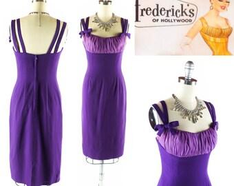 Vintage 50s Dress // 1950s Dress // Shelf Bust Dress // Purple 50s Dress // Wiggle Dress // Cage Strap Dress - sz S - 26 Inch Waist
