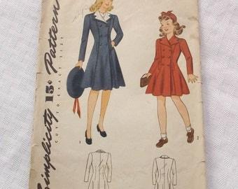 1940s Vintage Girl's Coat Pattern Simplicity 4189 28 Bust Size 10