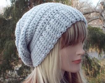 Light Gray Crochet Hat, Womens Slouchy Beanie, Boho Slouchy Hat, Oversized Slouch Beanie, Chunky Hat, Winter Hat, Boho Slouch Hat