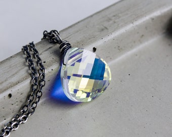 Crystal Necklace, Crystal Pendant, Wire Wrapped, Swarovski Crystal, Swarovski Pendant, Rainbow Crystal, Sterling Silver, Antiqued, PoleStar