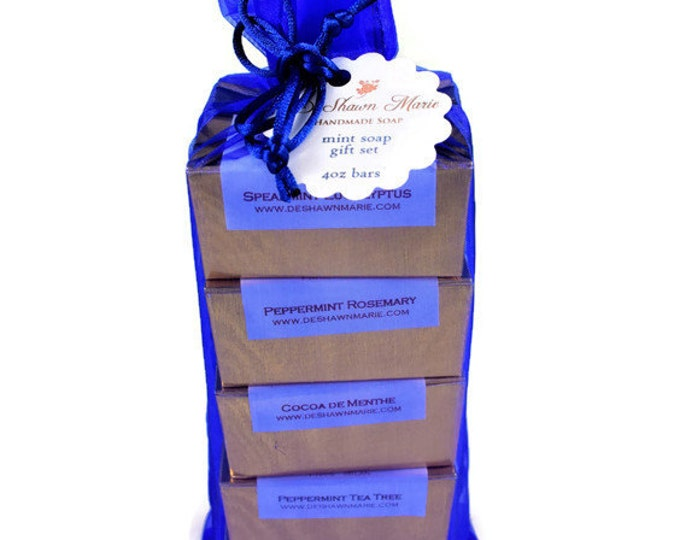 SOAP Gift - Refresh-MINT Soap gift set - soap gift bag - 5 soap vegan gift set