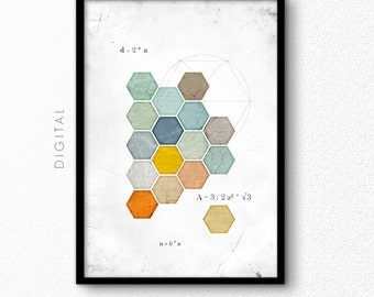 """Large Geometric Hexagon Wall Art Honeycomb Download Green Blue Orange Modern Print Gift for Pupil Student Mathematician 24""""x36"""" A1 Printable"""