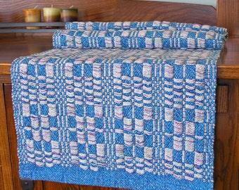 Handwoven Table Runner Blue Runner Spring Runner Blue Dresser Scarf Table Decor Unique Handmade by FiberFusion - Ice Castles