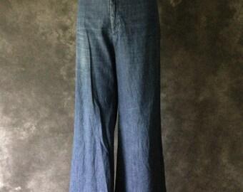 1970's high waist wide leg denim sailor pants by Souvenirs San Francisco