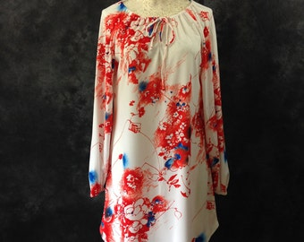 Vintage 1970's polyester sketched floral red orange white and blue peasant dress