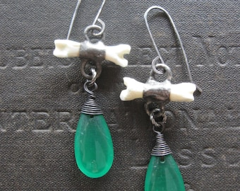 Poison Drops - Bone and Vintage Green Glass Earrings - Sterling Wires