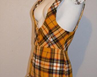 60s miss holly jumpsuit body suit. plaid vest bodice plaid flannel winter cropped pant hem size 9 10 waist 26 gold and black.