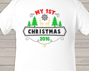 My First Christmas emblem bodysuit or Tshirt - perfect for baby's 1st Christmas MFCE