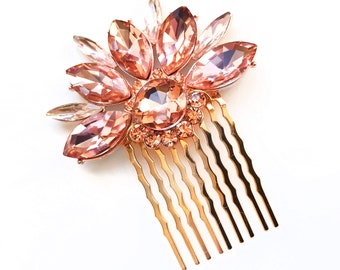 Blush Pink Crystal Hair Comb in Gold - Vintage Style Hair Piece - Pale Pink Bridal Comb - Wedding Hair Comb - Flower Rhinestone Brooch