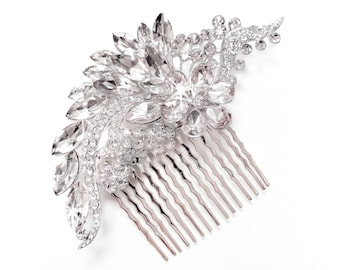 Hair Comb - Crystal Hair Piece in Silver - Vintage Style Brooch - Silver Floral Bridal Comb - Wedding Hairpiece - Flower Vine