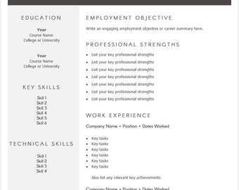 Easy to use Resume Template, Professional 1 page template, CV template, Simple and modern, Word template, job template, modern resume, sleek