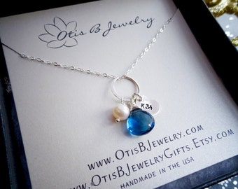 Police wife necklace, blue quartz, Hero necklace with custom badge number, thin blue line, police wives mom, law enforcement cop shield LEO