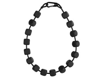 architectural black necklace, designer rubber jewelry by Frank Ideas, modern geometric style