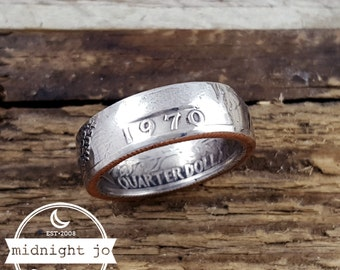 1970 Coin Ring Double Sided Coin Ring Liberty Coin Ring Year Quarter Coin Ring Washington Coin Ring