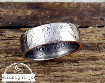 Vermont Coin Ring - Double Sided Coin Ring - State Quarter Ring - Coin Jewelry - US Coin Rings - Vermont Ring - Vermont Jewelry- Unique Gift
