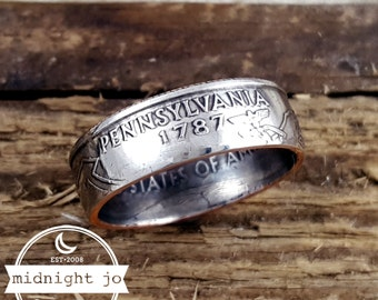 Pennsylvania Coin Ring Double Sided Coin Ring State Coin Ring US Quarter Coin Ring