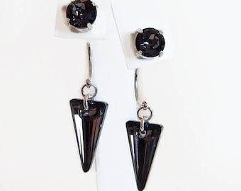 Black diamond crystal ear jacket earrings - as seen on Pretty Little Liars - black spike earrings - crystal spike - Swarovski