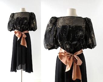 Vintage 1980s Dress | Sparkler Flower | Black Party Dress | S M