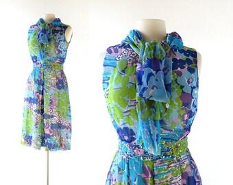 1960s Cocktail Dress   Floral Chiffon Dress   Rhinestone Dress   60s Dress   XS
