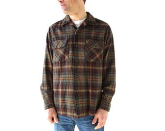 Pendleton Plaid Shirt | 1960s Men's Shirt | Olive Green Shirt | M Medium