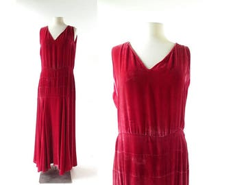 1920s Evening Gown | Red Velvet Dress | 20s Dress | As Is | M L
