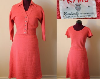 1950s Kims Knits 2 piece set coral pink dress and dolman sleeve cardigan
