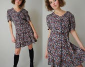 Grunge Mini Dress Vintage Black Ditsy Floral Slouchy Grunge Boho Mini Dress (s m l)