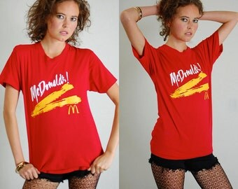 McDonalds T Shirt Vintage Red McDonalds SCREEN STARS Made in the Usa T Shirt (s m)