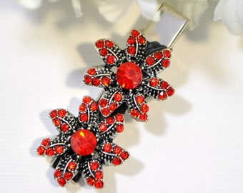 Red Hair Clip Red Silver Barrette Rhinestone Hair Clip Flower Hair Pin