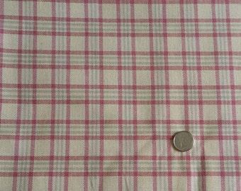 PK067 ~ Pink plaid Heavyweight fabric Pink and gray plaid Cream background Cotton fabric