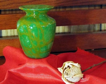 Forest Green and Gold Miniature Hand Blown Vase
