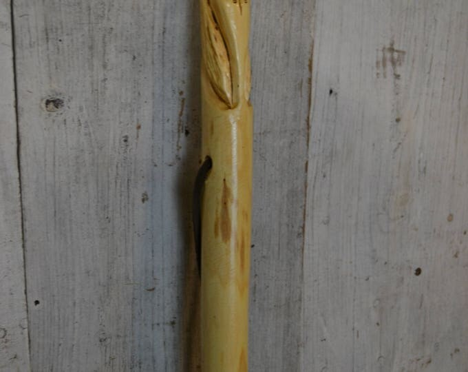 White Cedar Carved Indian Staff, Indian Walking Stick Carving - Staff - Hand Carved Indian Hiking Stick, Wood Carvers of Etsy, 1640
