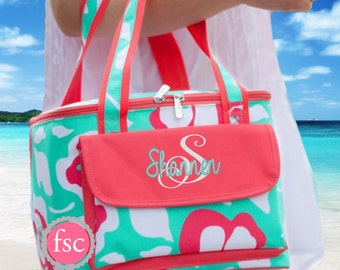 Flora Bora Monogrammed Cooler Bag, personalized Cooler Bag , Beach Cooler bag , vacation bag, Bridesmaid gift, Personalized Beach Bag