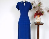 RESERVED ON LAYAWAY Vintage 1940s Dress - Fantastic Indigo Blue Rayon Crepe Beaded Keyhole 40s Cocktail Dress with Faux Peplum