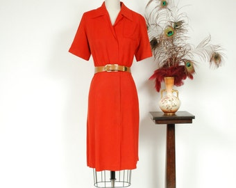 Vintage 1940s Dress - Vivid Cherry Red Rayon Gabardine 40s Day Dress with Hidden Zipper Front