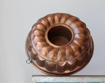 Antique Copper Bundt Pan, Rustic Copper Baking Pan, Antique Copper Bundt Pan, Bluebird Canada Copper, Farmhouse Decor, Copper Patina Pan
