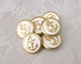 Nautical Anchor Buttons - CHOOSE 16mm 5/8 inch, 18mm 3/4 inch, 23mm 7/8 inch - VTG NOS White Enamel Gold Tone Metal Ship Anchor Button MT113